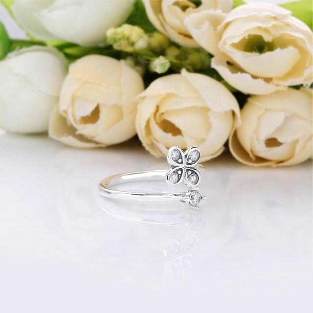 Anel de Prata 925 Flores com Pedra de Zicôrnia