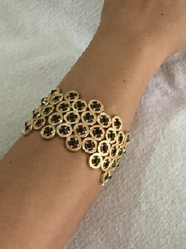 Bracelete Feminino Dourado Largo Com Strass