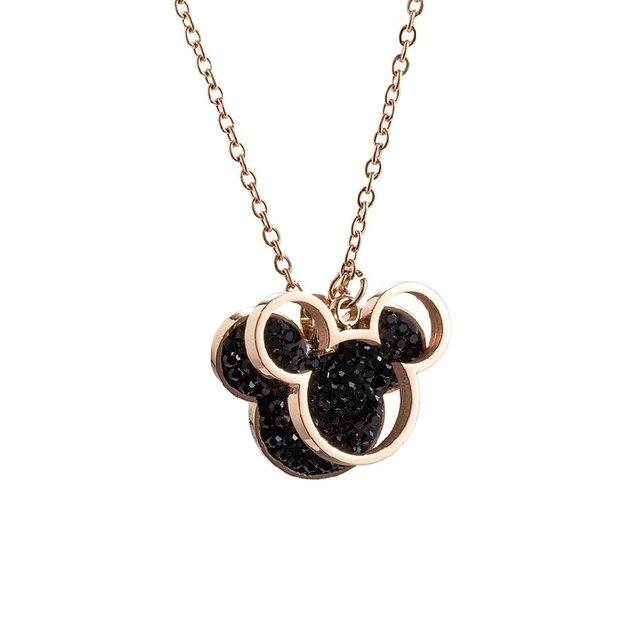 Colar Pingente Mickey Minnie Disney Moda Feminina dourada com pigente cor preta