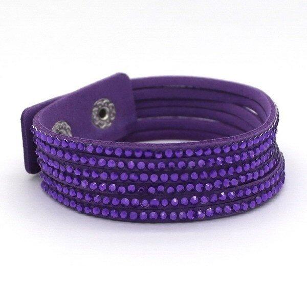 Pulseira de Courino e Cristal Charm Bracelet largura 2 cm Tamanho 18/20
