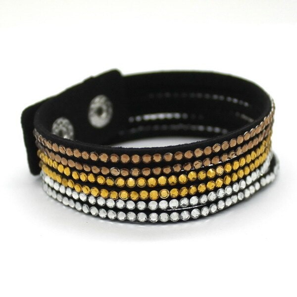 Pulseira de Courino e Cristal Charm Bracelet largura 2 cm Tamanho 18/21,50 cm