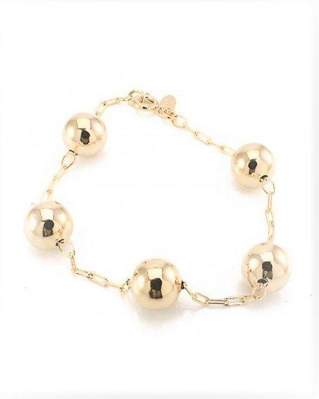 Pulseira Folheada Ouro 18k com corrente fina e 5 bolas douradas de tamanho medio