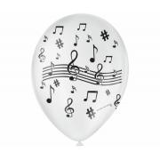 Balão No 9 Nota Musical Branco/Preto c/25 un -
