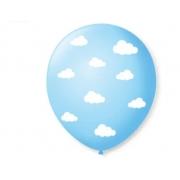 Balão No 9 Nuvenzinhas Azul Baby Branco c/25 un -