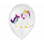 Balão No 9 Unicórnio Branco c/25 un -