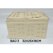 Baú No 3 Creme Medida 32x25x18cm - RD Artesanato