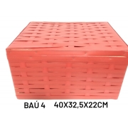 Baú No 4 Vermelho Medida 40x32,5x22cm - RD Artesanato