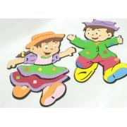 Conjunto Menino e Menina Caipira Peq em EVA  c/2un 23x30cm - Pet Toy