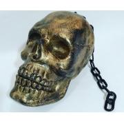 Crânio com Corrente Dourado 28cm - JZ