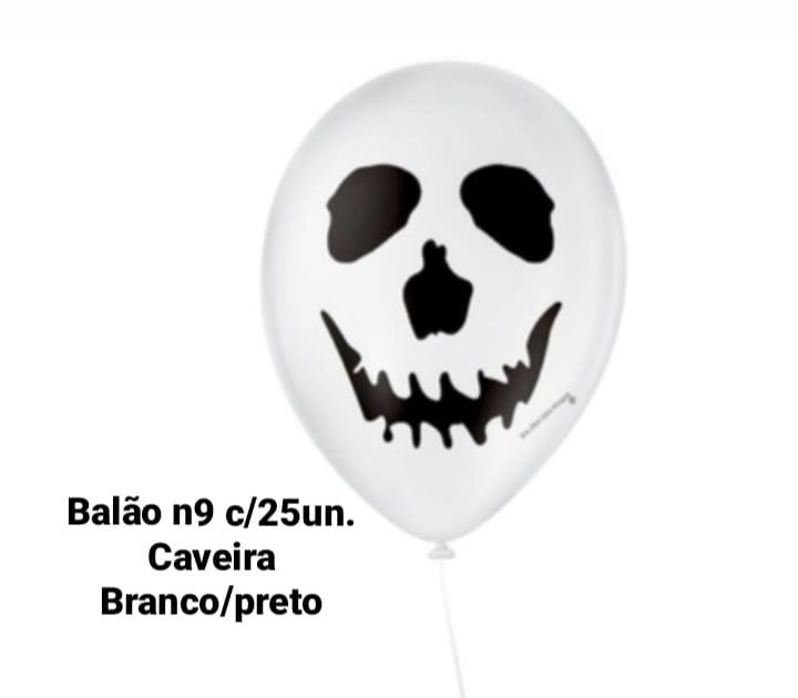 Balão No 9 Caveira Branca/Preta - São Roque