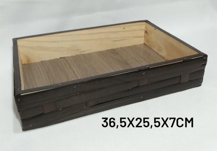 bandeja Média Marrom Medida 36,5x25,5x7cm - RD Artesanato