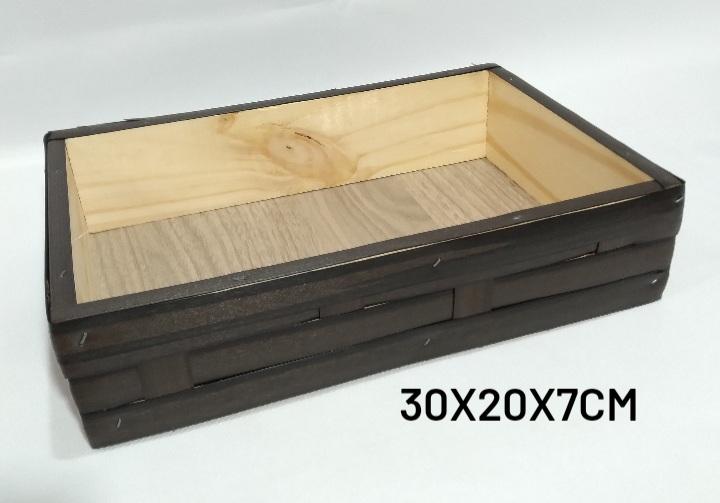 bandeja Pequena Marrom Medida 30x20x7cm - RD Artesanato
