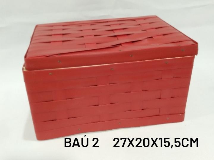 Baú No 2 Vermelho Medida 27x20x15,5cm - RD Artesanato