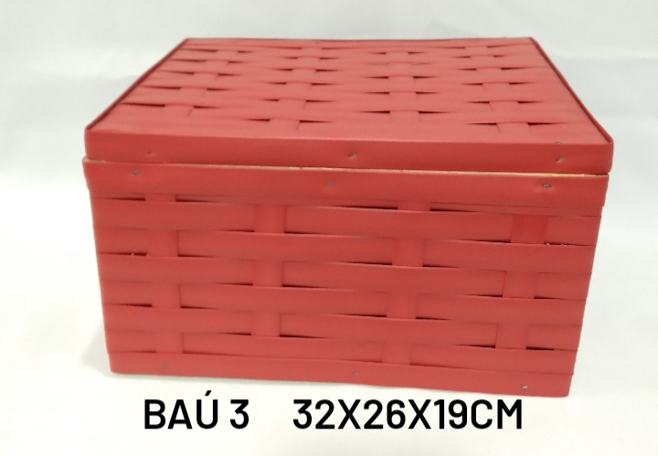 Baú No 3 Vermelho Medida 32x26x19cm - RD Artesanato