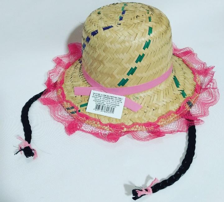 Chapéu com Trança e Renda cores sortidas 26x11cm - Maza