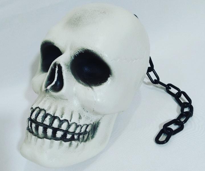 Crânio com Corrente Branco 28cm - JZ