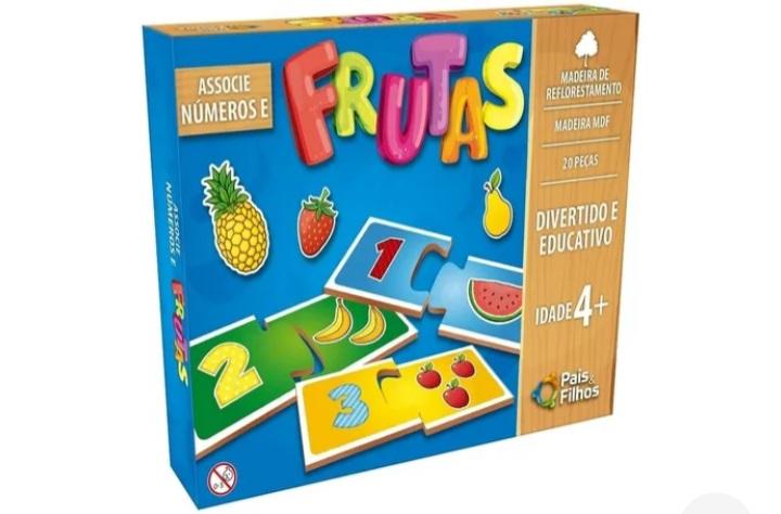Jogo Associe Números e Frutas em Madeira - Pais e Filhos