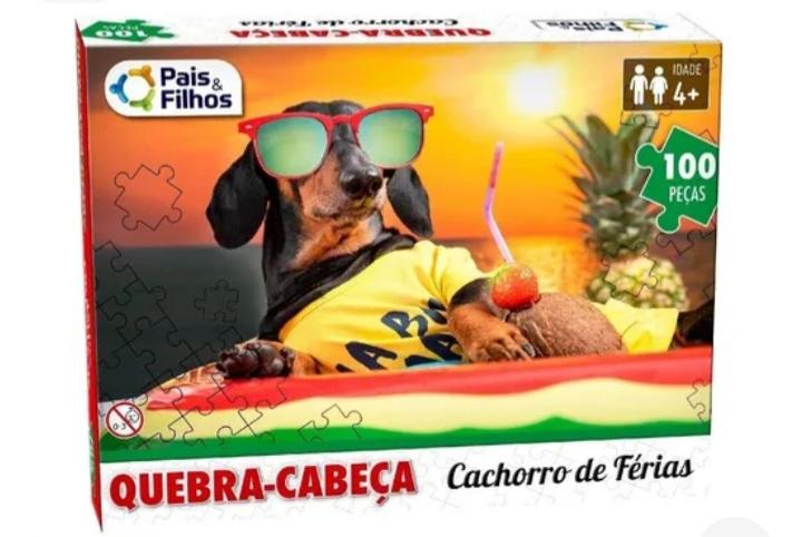 Quebra-Cabeça 100 peças Cachorro de Férias - Pais e Filhos