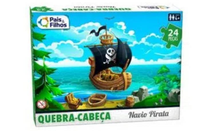 Quebra Cabeça Navio Pirata Infantil  24 peças - Pais e Filhos