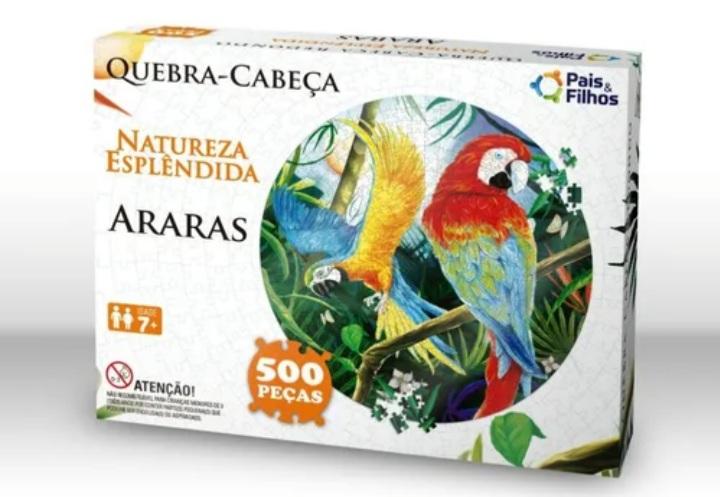 Quebra cabeça Redondo Araras  500 peças - Pais e Filhos