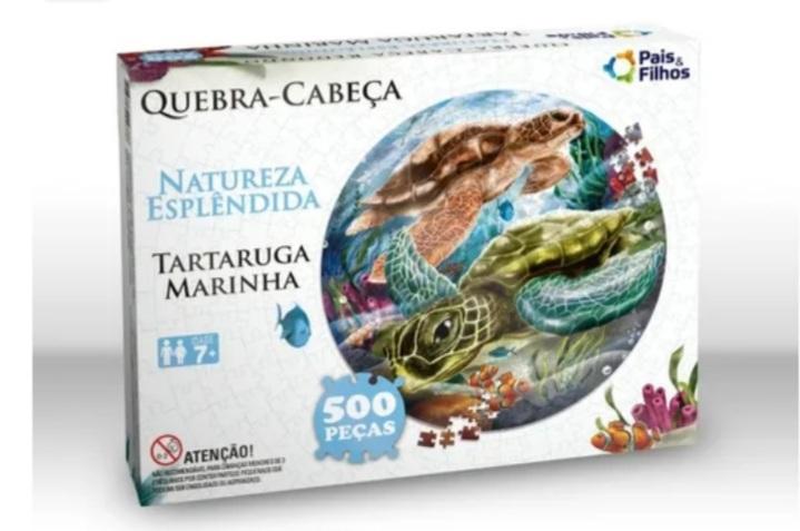 Quebra Cabeça Redondo Tartaruga 500 peças -
