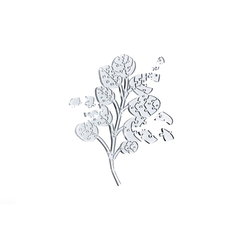 Quebra Cabeça Transparente Eucalipto - Moldura Madeira