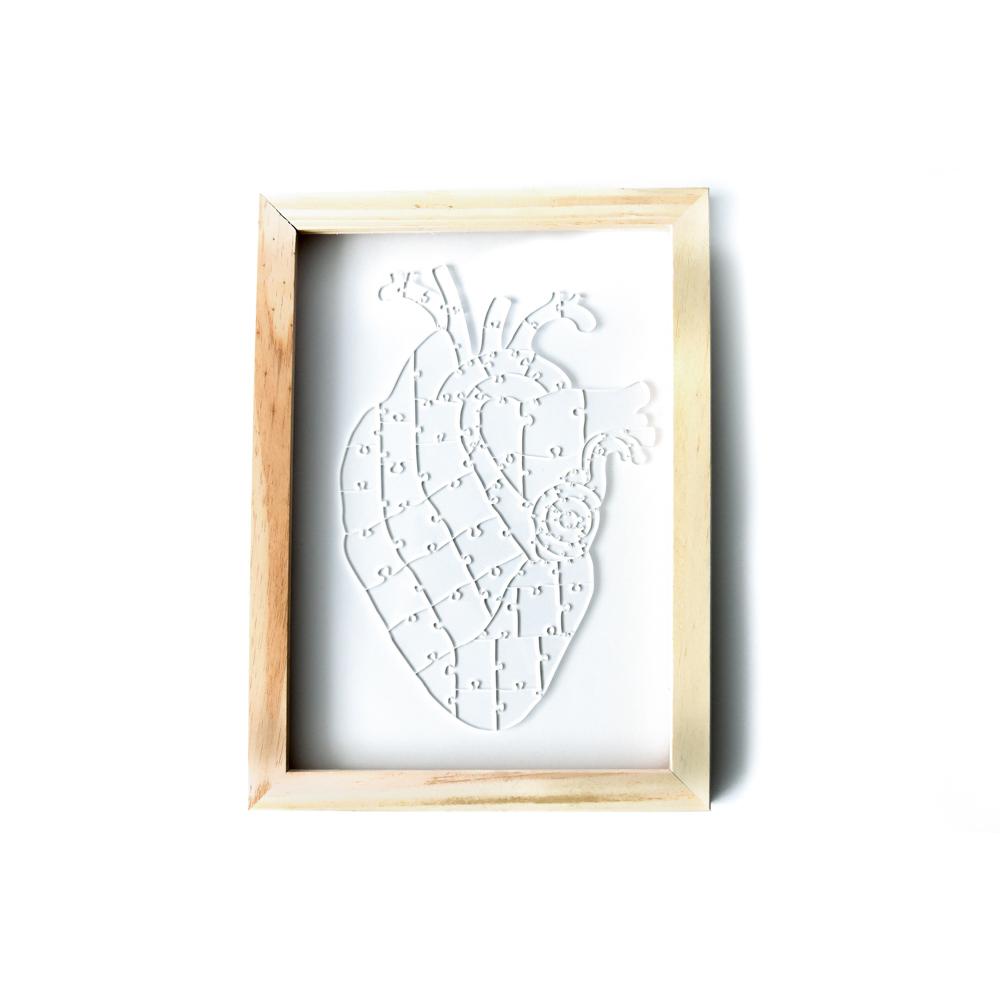 Quebra Cabeça Transparente Heart - Moldura Madeira