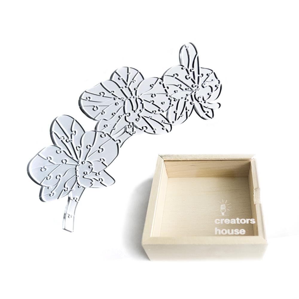 Quebra Cabeça Transparente Orquídea (67 peças) + Caixa