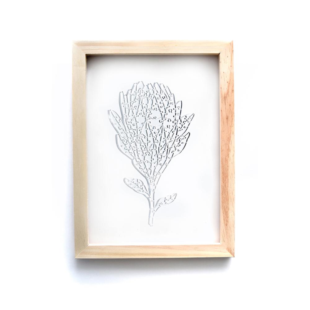 Quebra Cabeça Transparente Protea - Moldura Madeira