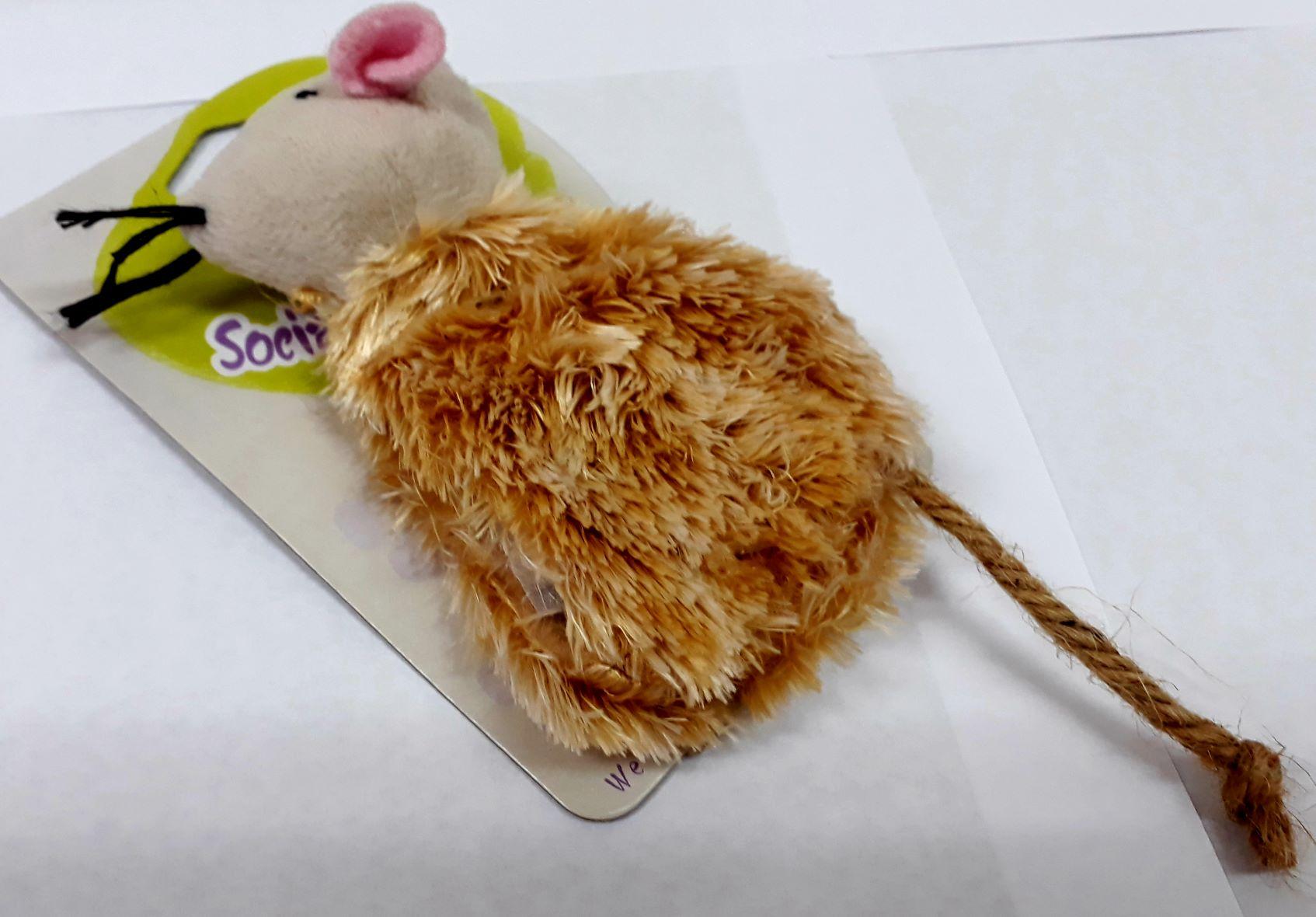 Brinquedo Ratinho De Pelucia Bege Com Catnip