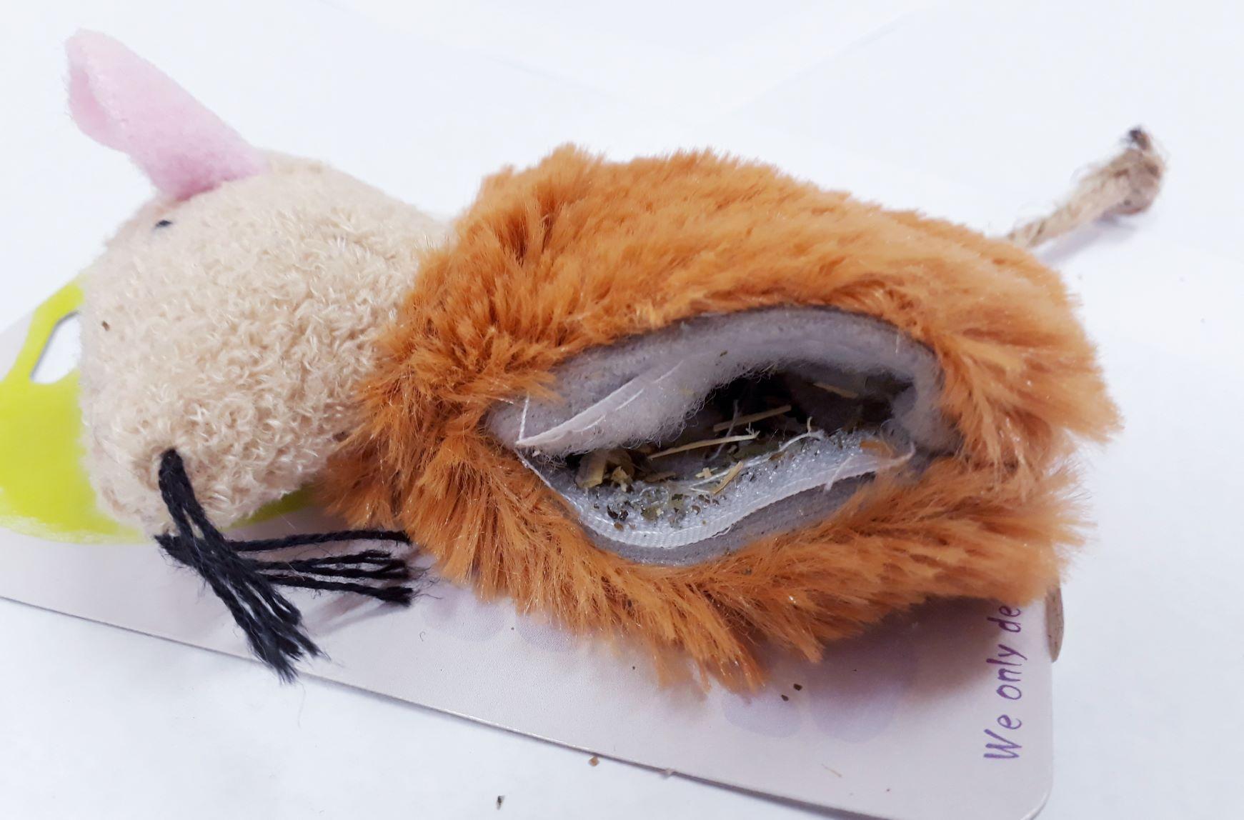 Brinquedo Ratinho De Pelucia Marron Com Catnip