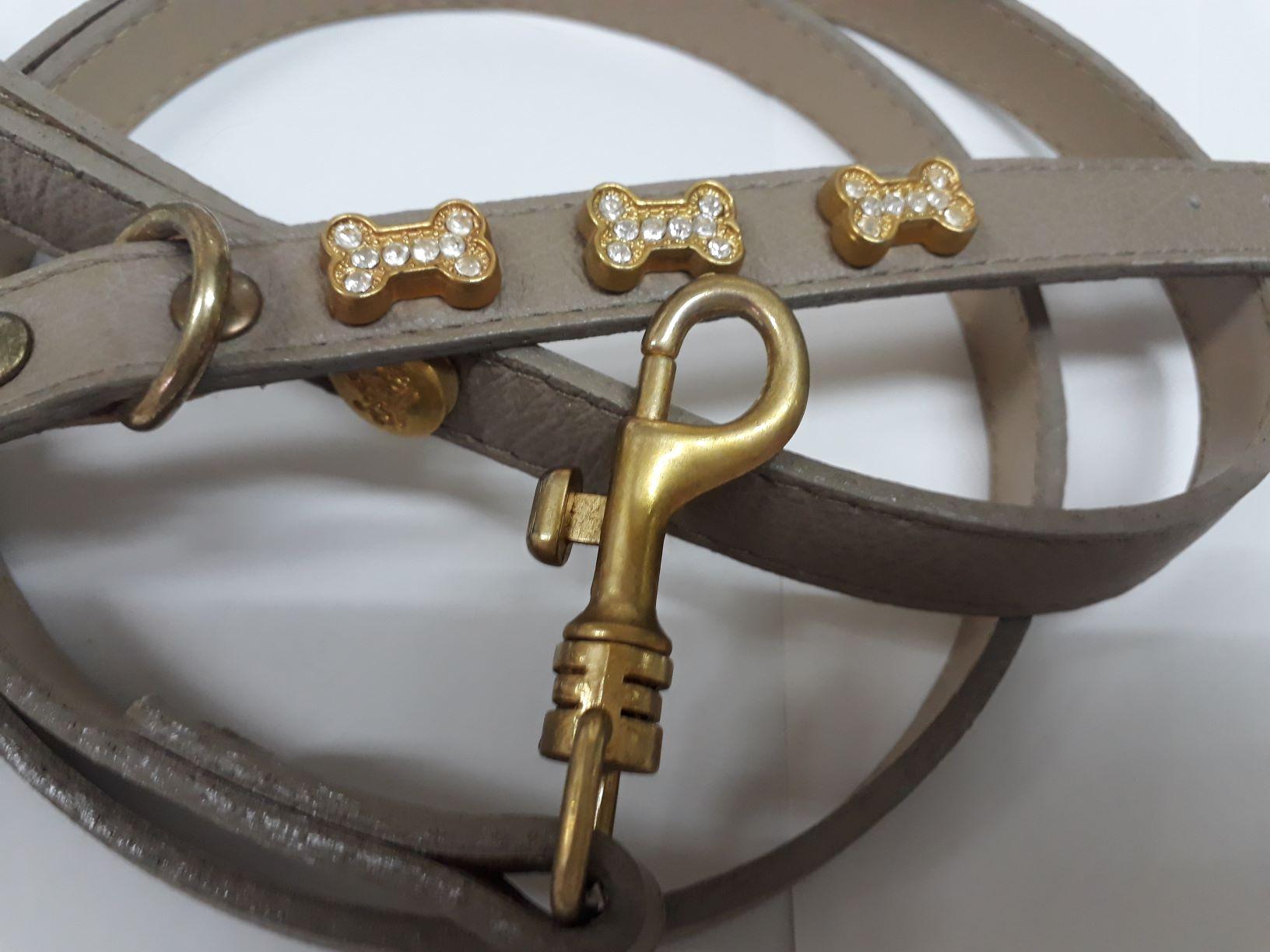Coleira E Guia Couro Bege Woof Com Detalhes Dourado E Strass N 14
