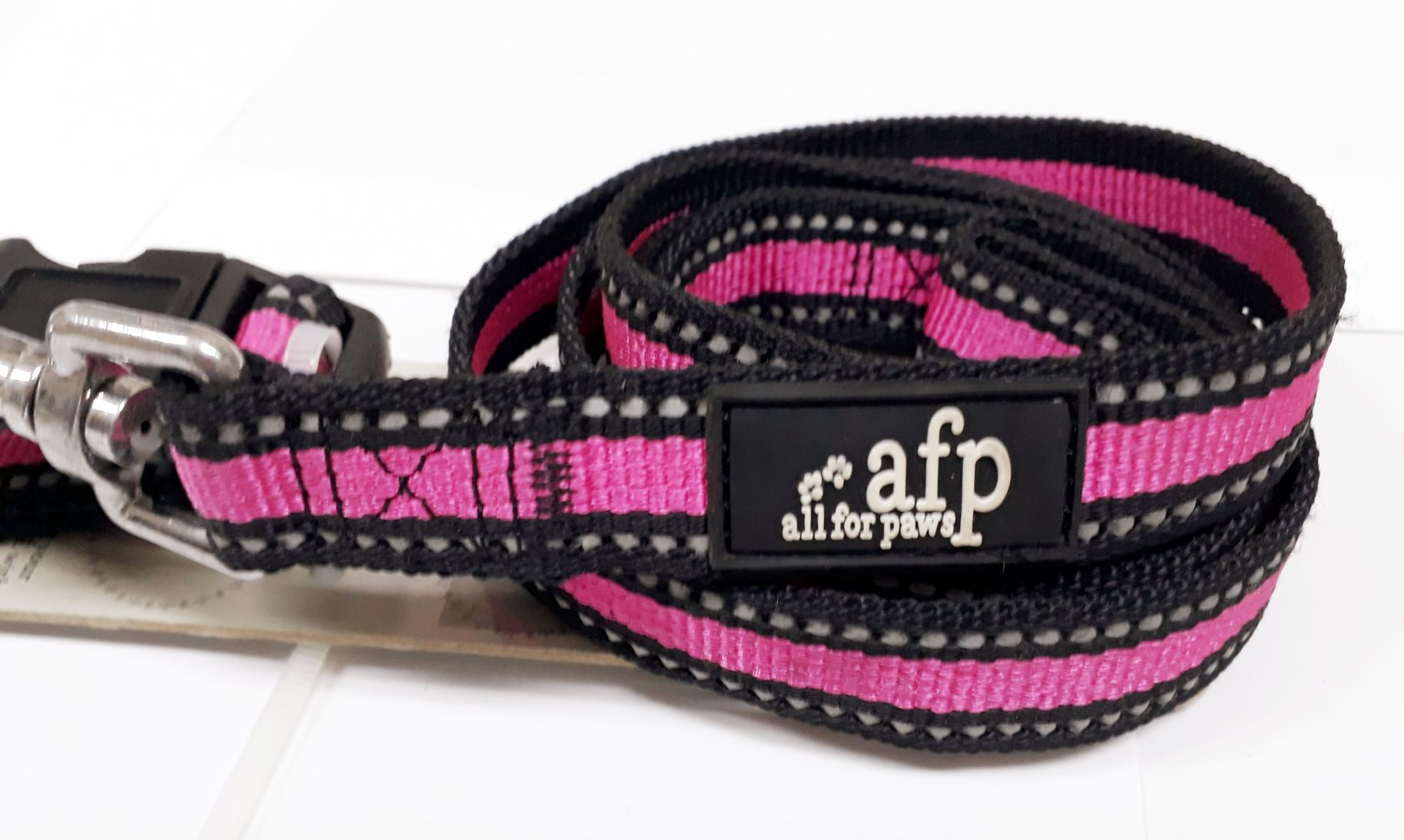 Coleira E Guia Fluorescente Afp Pink G