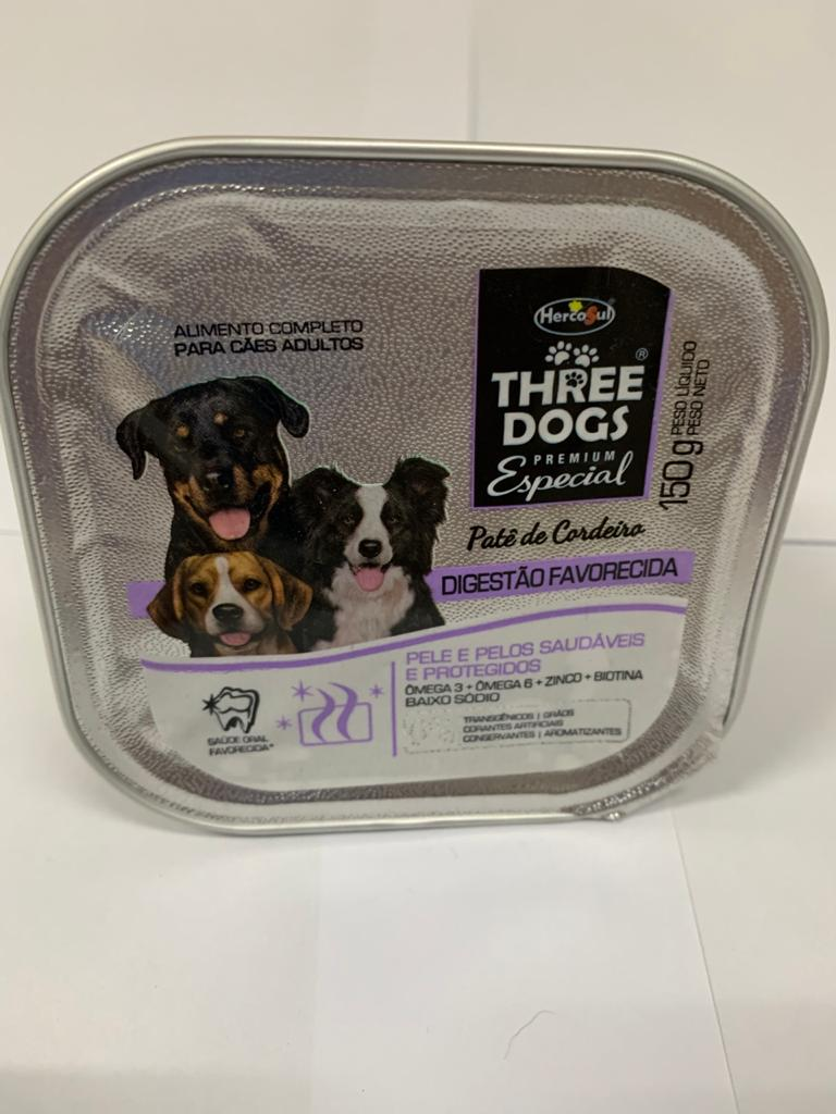 Patê Three Dogs Digestão Favorecida Cordeiro Cães 150 Gr