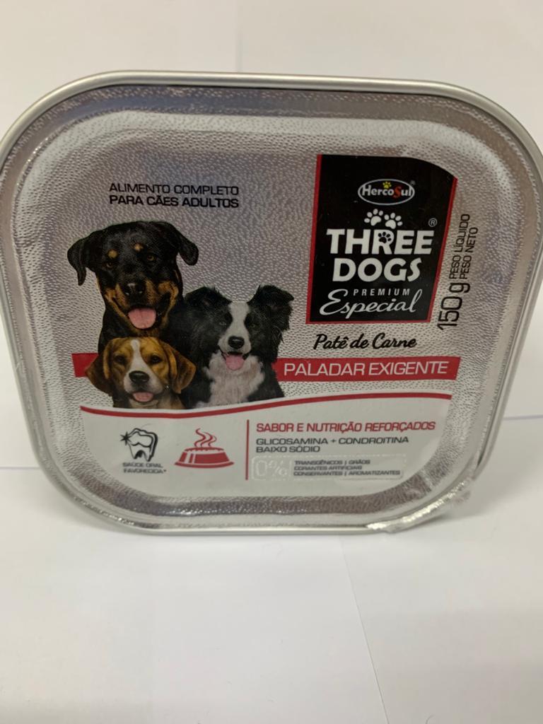 Patê Three Dogs Paladar Exigente Carne Cães 150 Gr