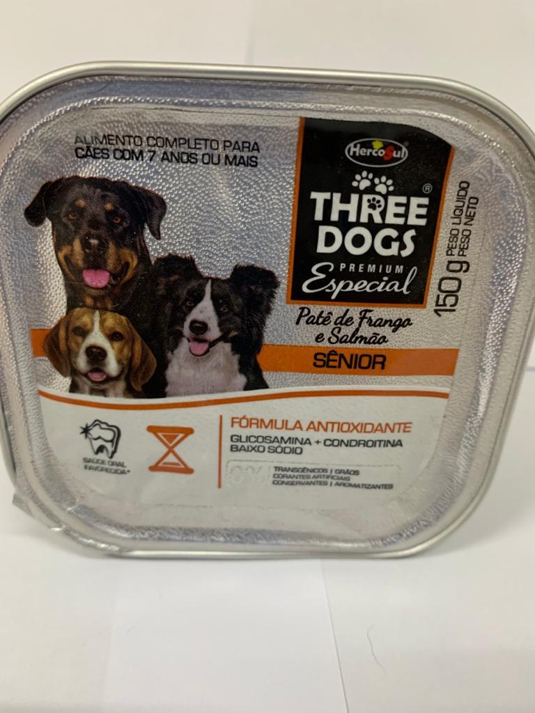 Patê Three Dogs Senior Frango E Salmão Cães 150 Gr