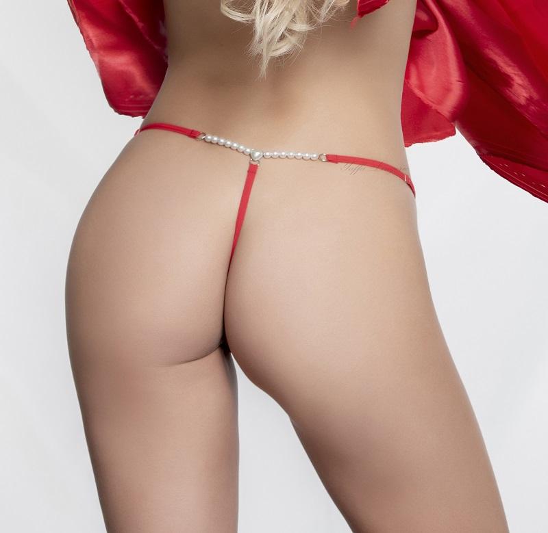 Calcinha em Renda com Pérolas - Yaffa - Y5005 Vermelha