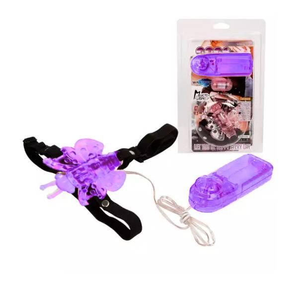 Estimulador Clitoriano em formato de Borboleta com cinta fixadora - Roxo - 6071