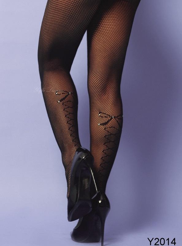 Meia Calça em Mini Arrastão com Detalhe de Laço e Brilho - Yaffa - Y2014 Preta