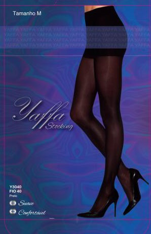 Meia Calça Fio 40 Tamanho M - Yaffa Stocking - Y3040 Preta