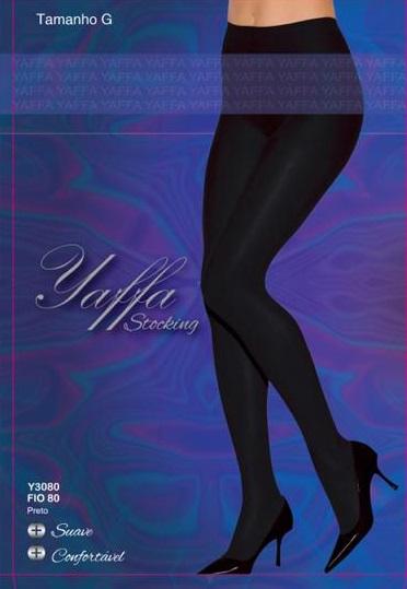 Meia Calça Fio 80 Tamanho M - Yaffa Stocking - Y3080 Preta