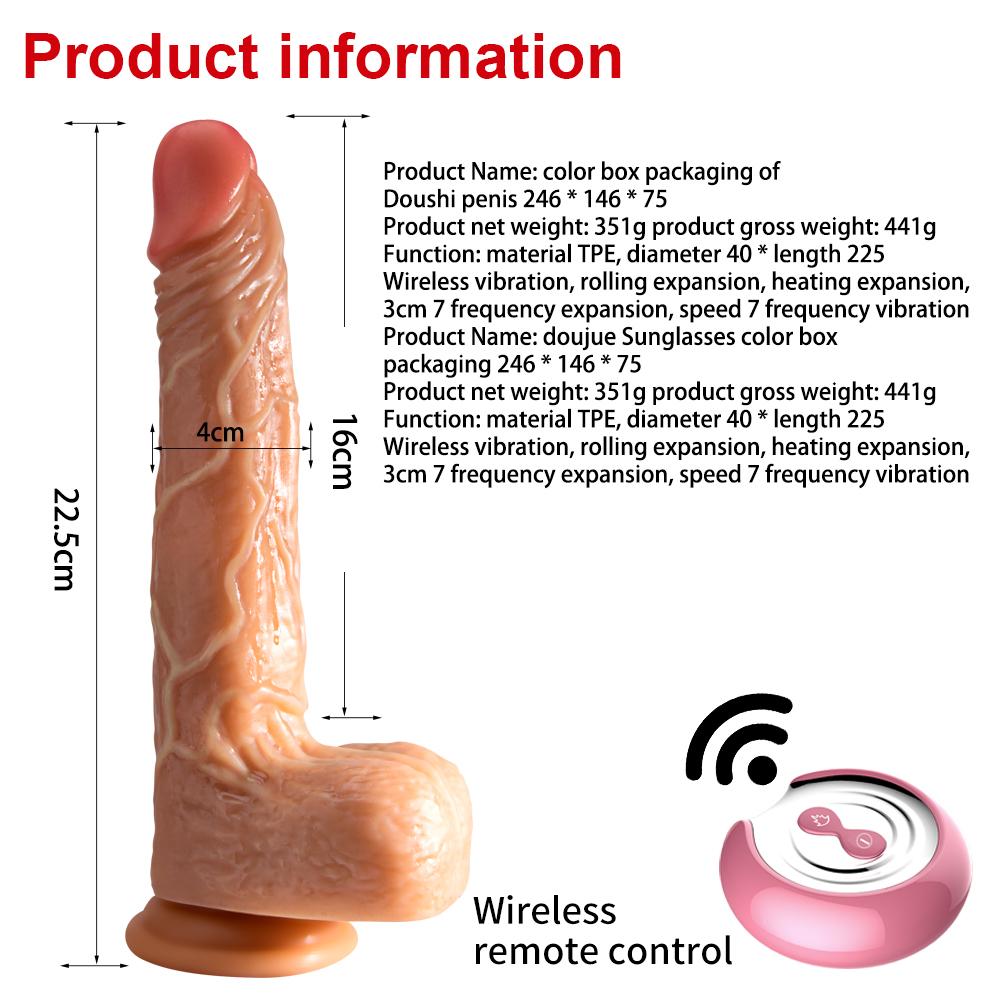 Prótese Realística Recarregável ,7 vibrações,Movimento vai e vem com Aquecimento e Controle Wirelles 16x 4,1cm PE090