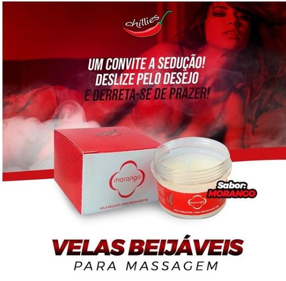 Vela Beijável para Massagem - Chillies - Morango