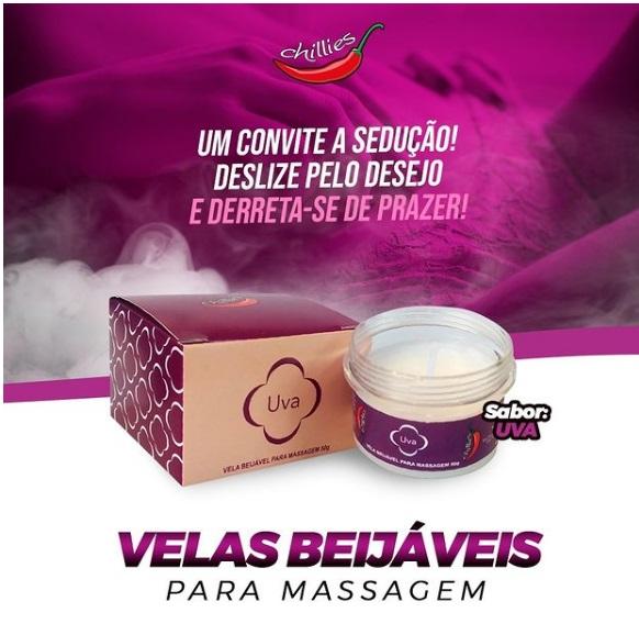 Vela Beijável para Massagem - Chillies - Uva