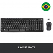 Teclado e Mouse MK270, Logitech,  Sem Fio Multimídia Preto ABNT2 - 920-004433