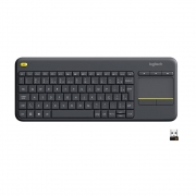 Teclado K400 Plus com Touchpad, Logitech ,  Sem Fio,  Multimídia, Unifying, ABNT2, Cinza - 920-007125