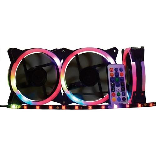 Cooler  Para Gabinete K-Mex (kit C/ 3 Pcs) 120x120 Led RGB
