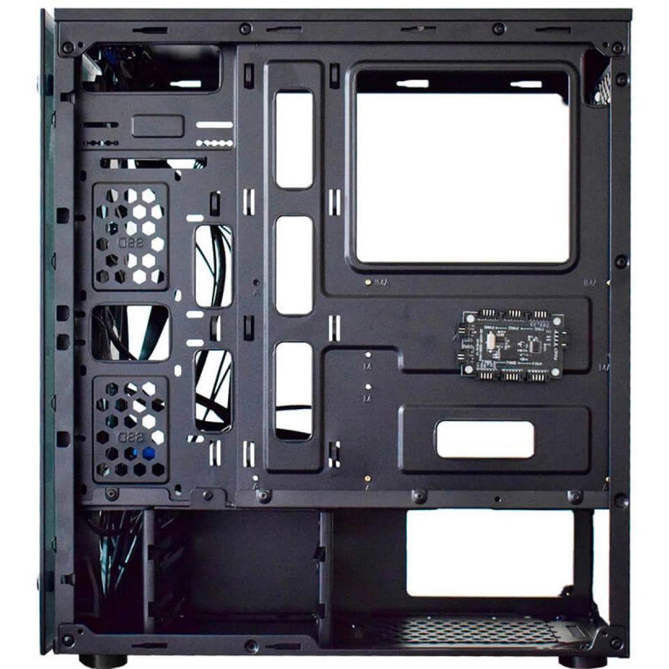 Gabinete Gamer K-mex Atlantis III, Mid Tower, Com 3 Fans RGB, Vidro Temperado, Black, S-Fonte, CG-03N9