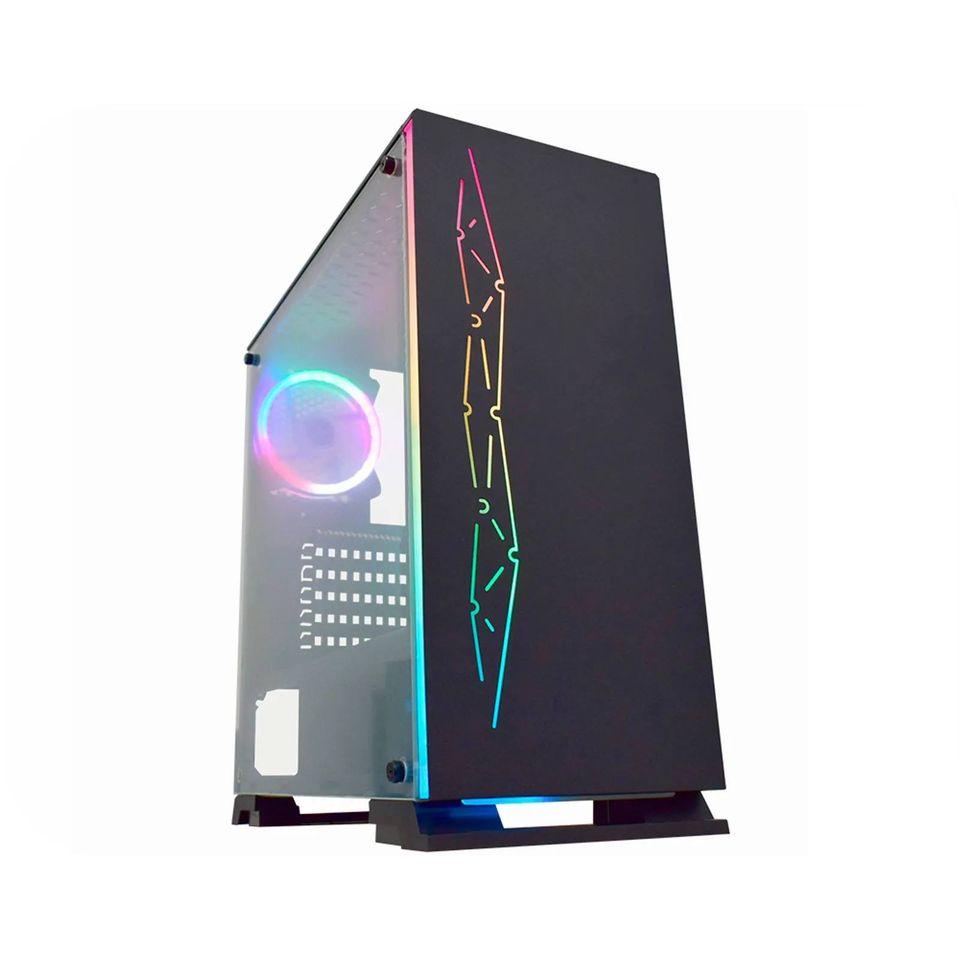 Gabinete Gamer K-MEX Fenix Negra CG-01B8 RGB Painel De Ferro S/Fan Preto