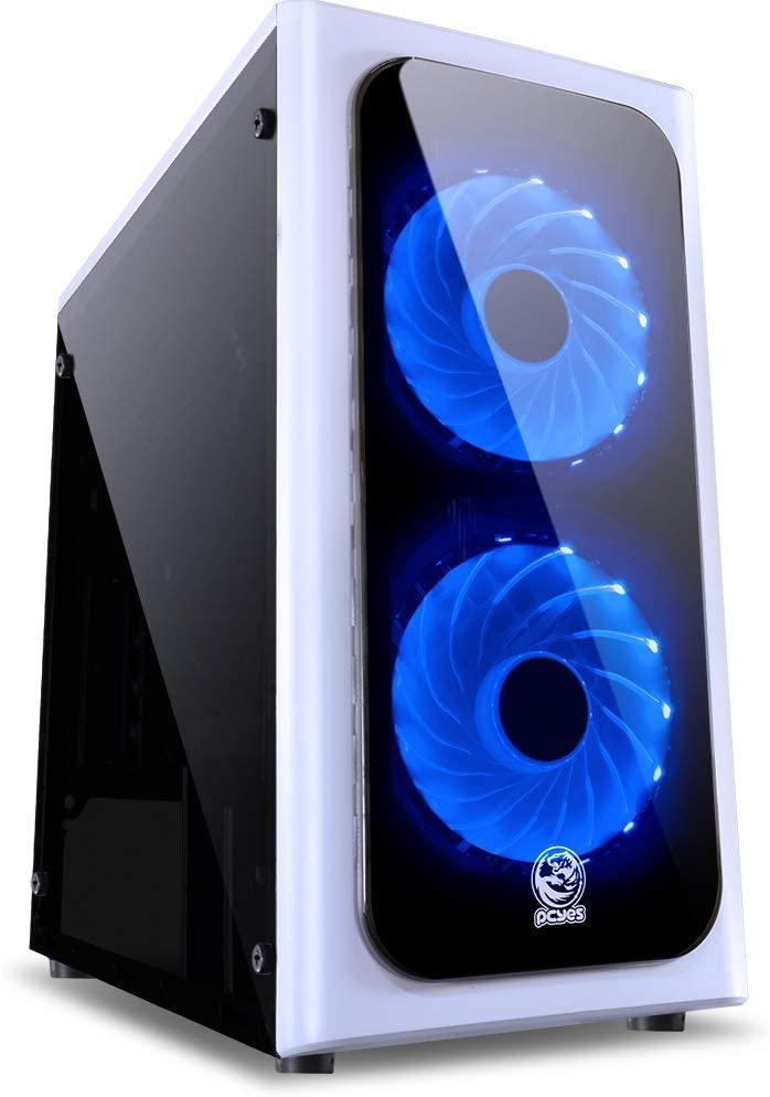 Gabinete Gamer Mid-Tower Venus Branco Com 2 Fans Led Azul Lateral Em Acrílico